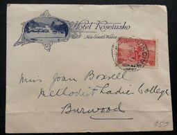 1936 Kosciusko Australia Hotel Advertising Cover To Burwood - Unclassified