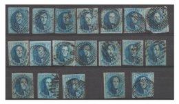 COB N° 11 - Lot De 21 Timbres - Nuances; Variétés; Reconstitution De Planche; Oblitérations - 1849-1865 Medaillen (Sonstige)