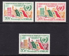 1962 Senegal United Nations UN Flags Complete Set Of 3  MNH - Senegal (1960-...)