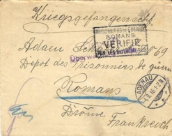 1916- Cover From ADENAU To A W P  At Romans ( France ) - Alemania