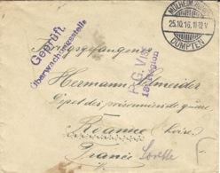 1916- Cover From MÜLHEIM(RUHR) / DUMPTEN To A W P  At Roanne ( France ) - Deutschland