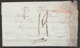 """L. Date Illisible De ALEXANDRIE Pour Maire De BRUGES - Griffe """"106 / ALEXANDRIE"""" - Port """"19"""" - 1794-1814 (French Period)"""