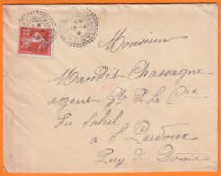 """Enveloppe De ST PRIEST DES CHAMPS  P.de.D  """" Double CACHET PERLE  """" Le 13 4 1914 Pour ST PARDOUX  P.de.D. Semeuse 10c - Cachets Manuels"""