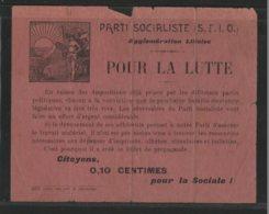 59 LILLE - PARTI SOCIALISTE (S.F.I.O.) - Citoyens 0,10 Centimes Pour La Sociale ! - Lille