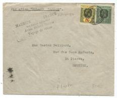 MAURITIUS  LETTRE AVION ROLAND GARROS VOYAGE RETOUR  20.1.1937 1ERE LIAISON AEROPOSTALE POUR LA ILE DE LA REUNION - Poststempel (Briefe)