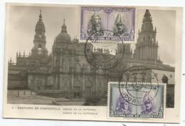 ESPANA 2CX2 PRO FIDE ET ARTIBUS AU RECTO CARTE TARJETA SANTIAGO DE COMPOSTELA 1929 - Brieven En Documenten