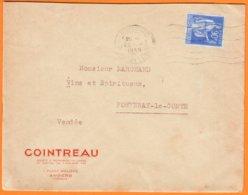 """Enveloppe Pub De ANGERS Maine Et Loire  """" COINTREAU """" Année 1939  Pour FONTENAY LE COMTE Vendée - Publicités"""