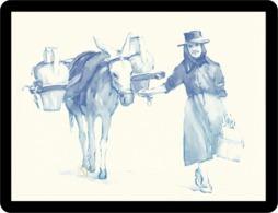 Riproduzione Di Un Acquerello Donna Di Campagna Che Va A Prendere L'acqua Reproducción De Una Mujer De Campo Buscar Agua - Aquarel