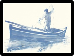 Riproduzione Di Un Acquerello Pescatore Fischer Visser Pescador ψαράς Pêcheur Fisherman Fëscher ਮਛੇਰੇ рыбак - Aquarel