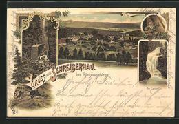 Lithographie Schreiberhau, Eingang Zur Zackelklamm, Am Zackelfall, Ortsansicht - Schlesien