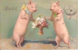 Superbe Carte Fantaisie Gaufrée - AMITIE - COCHONS Avec Panier Avec Fleurs En 1906 - Cochons