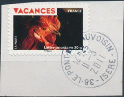 France - Vacances 2009 - Coq YT A321 Obl. Cachet Rond Sur Fragment - Adhésifs (autocollants)