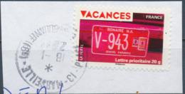 France - Vacances 2009 - Plaque Immatriculation YT A323 Obl. Cachet Rond Sur Fragment - Adhésifs (autocollants)