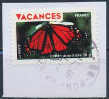 France - Vacances 2009 - Papillon YT A324 Obl. Cachet Rond Sur Fragment - Adhésifs (autocollants)