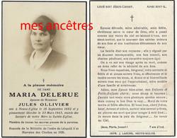 Faire-part De Décès 1943- Neuve-Eglise (59) Maria DELERUE Ep Jules OLLIVIER, Conseiller Municipal , Marraine Des Cloches - Todesanzeige