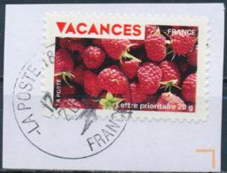 France - Vacances 2009 - Framboises YT A325 Obl. Cachet Rond Sur Fragment - Adhésifs (autocollants)