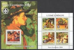 M1036 2004 S.TOME E PRINCIPE SCOUTISM EURO ESCUTISMO 2004  BL+KB MNH - Scoutisme