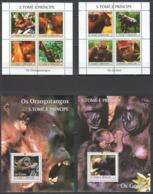 M1058 2004 S.TOME E PRINCIPE FAUNA WILD ANIMALS OS ORANGOTANGOS GORILLAS 2KB+2BL MNH - Mono