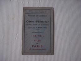 CARTE  D'ÉLECTEUR SEINE VILLE De PARIS 1945 - Historical Documents