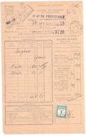 SERGINES Yonne Bordereau Valeur Recouvrée 1485 Taxe à Percevoir Yv 60 1F Bleu Vert Formule Entière Ob 1933 Type 1904 - Segnatasse
