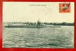 1396 FRANCE SUBMARINE '' AIGRETTE '' VINTAGE POSTCARD USED - Krieg