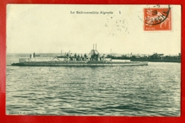 1396 FRANCE SUBMARINE '' AIGRETTE '' VINTAGE POSTCARD USED - Warships