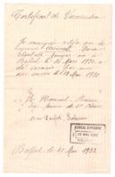 Certificat De Vaccination Du Bureau D' HYGIENE à BELFORT En 1932 - Francia