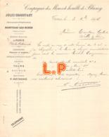 40-0156    1894 COMPAGNIE DES MINES DE HOUILLE DE BLANZY JULES CHAGOT A TOURS - M. TOUTAIN GAILLARD A SELLES SUR CHER - Frankrijk