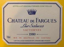 11909 - Château De Fargues 1980 Sauternes Spécimen - Bordeaux