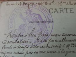WW1 Carte En Franchise Militaire - Cachet Dépot Commun 132 - 332 - 46 è Territorial Chatelaudren Pour Reims, Mr Doyers - Storia Postale