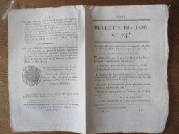 BULLETIN DES LOIS N°34 DU 1er JUIN 1815 AU PALAIS DES TUILERIES NAPOLEON DECRET IMPERIAL QUI CONVOQUE LA CHAMBRE DES PAI - Gesetze & Erlasse
