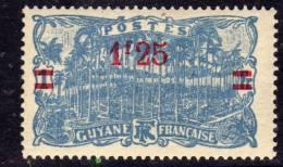 Guyane N° 103  X  Timbre De 1904 Surchargé :  1 F. 25 Sur 1 F. Outremer Charnière Sinon TB - Guyane Française (1886-1949)