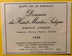11933 - Domaine Du Haut-Martin Saligue 1980 - Bordeaux