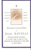 Faire-Part De Jules RAVELLI Décédé à SALZINNES Le 19/3/1898 - Décès