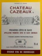 11936 - Château Cazeaux 1980 - Bordeaux