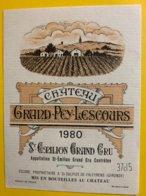11942 - Château Grand-Pey-Lescours 1980 Saint-Emilion 37,5cl - Bordeaux