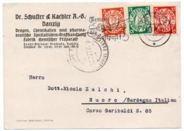 DANZIG 1937 - POSTCARD TO ITALY/NUORO / PHARMACY / CHEMISTRY - Danzig