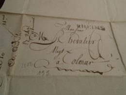 1802- MARNE -Lettre Manuscrite +TAXEE + IND/6 +Départ  49 RHEIMS Pour COLMAR - 4 Photos/ - Poststempel (Briefe)