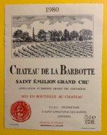 11947 - Château De La Barbotte 1980 Saint-Emilion - Bordeaux
