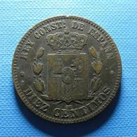 Spain 10 Centimos 1877 - Primi Conii