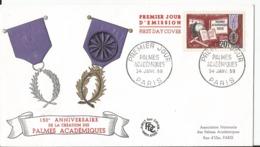Enveloppe Premier Jour - FDC - 1959 - Palmes Académiques - Paris - FDC