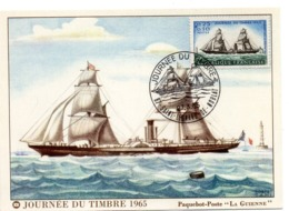 MARINE = 87 SAINT LEONARD De NOBLAT 1965 = CARTE MAXIMUM + CACHET  Illustré D'un VOILIER 'Journée Du Timbre' N° Yvt 1446 - 1960-69