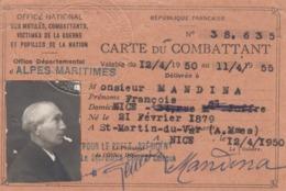 CARTE DU COMBATTANT. ALPDES MARITIME . NICE LE 12 4 1950 - Documents