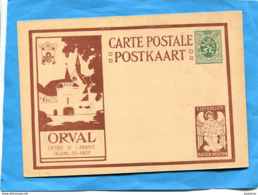 BELGIQUE-carte Entier Postal Stationnery Neuve-illustrée Abbaye ORVAL-35c Vert Cistercium -l'ange - Postcards [1934-51]