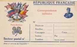 CARTECORRESPONDANCE MILITAIRE. REPUBLIQUE FRANCAISE EN FRANCHISE. TREFLE 4 FEUILLES. GLOIRE AUX ALLIES - Documents