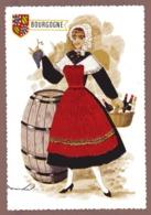FRANCE   Carte Brodée BOURGOGNE Neuve ( Tonneau Et Grappe De Raisin ) - Embroidered