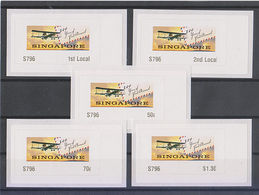 Singapore 2019 Atm Frama Label 100 Years Of First Airmail Flight 5v Airplane - Vignettes ATM - Frama