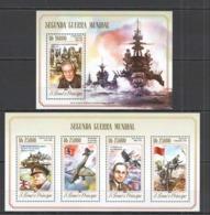 WW295 2014 S. TOME E PRINCIPE WORLD WAR II SEGUNDA GUERRA MUNDIAL KB+BL MNH - WW2