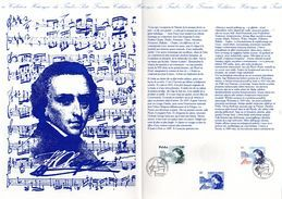 """"""" CHOPIN / EMISSION COMMUNE FRANCE - POLOGNE """" Sur Document Philatélique Officiel De 4 Pages De 1999.  N° YT 3287 + .... - Musique"""