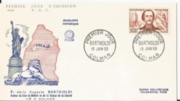 Enveloppe Premier Jour - FDC - 1959 -  Bartholdi - Colmar - FDC